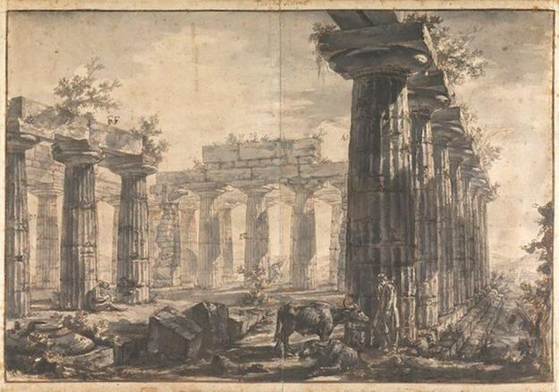 "A Drawing from the Temples at Paestum series by Giovanni Battista Piranesi 21 3/4 x 29 1/2 in.  (47.5 x 69 cm) 'Plate VII: Exterior of the Temple of Neptune from the North-East' (21.1/2"" x 29.1/2"" framed) Photographed by the National Gallery, London and produced by German firm Hahnemüle."