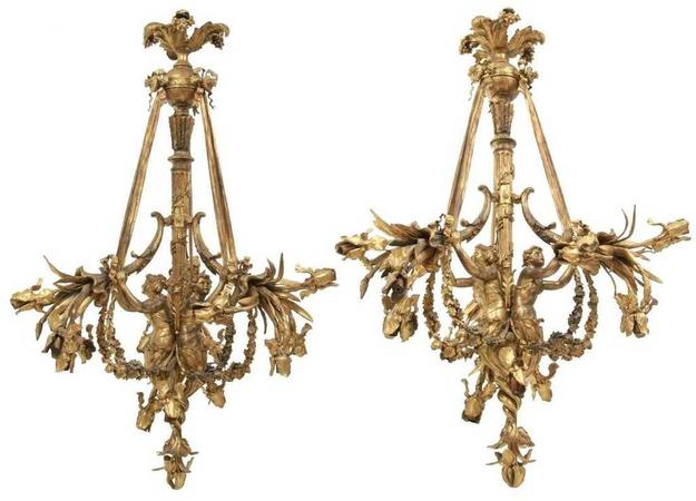 The top lot of this auction was a pair of gilt bronze 15-light chandeliers, with three figural maidens, that sold above high estimate at $51,425.