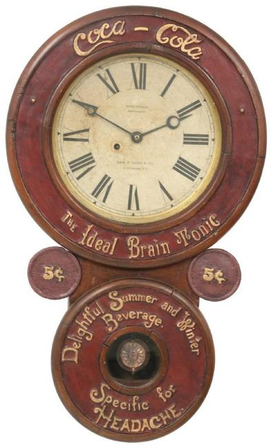 "This Baird Coca-Cola advertising clock, circa 1889, with its original 12-inch paper dial featuring a Seth Thomas movement ($25/40,000) reads ""Coca-Cola, The Ideal Brain Tonic - Delightful Summer and Winter Beverage, Specific for Headache."""