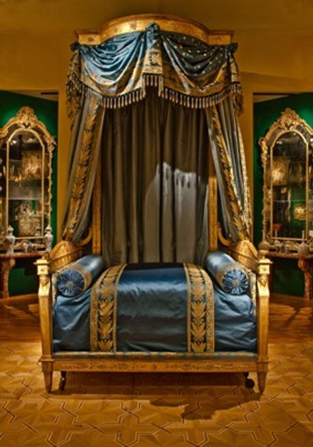 An important French Empire Giltwood Bed once owned by Talleyrand.  Exhibited by Pelham of Paris at TEFAF.