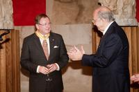 Plácido Arango, president of the Royal Board of Trustees at the Prado, presents MFA Director Malcolm Rogers with the honor of knight-commander in the Order of Isabella the Catholic (Encomienda de la Orden de Isabel la Católica)