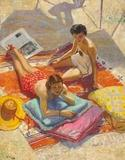 Sir John Lavery.  Sunbathers, 1936, Oil on canvas Signed lower left, 55.5 x 43.5 in (141 x 110cm.  Lot 27.  Bloomsbury - New York