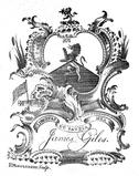 Bookplate with the arms of Giles.  Engraved by Robert Montgomery, New York, 1783.  Courtesy Angela Howard
