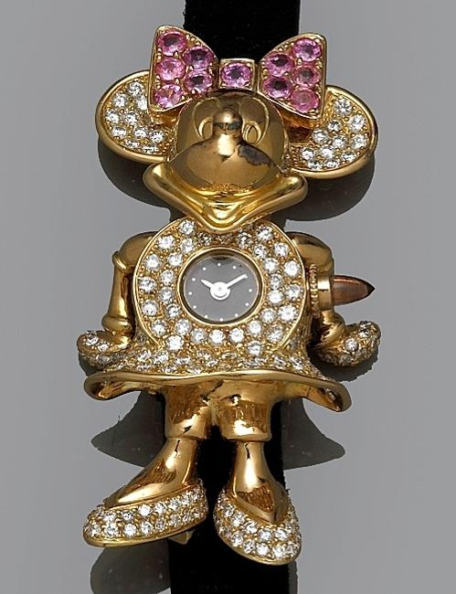 Bonhams & Butterfields will offer this diamond, pink sapphire & 18k gold Minnie Mouse motif wristwatch in its Salon Jewelry & Watches auction on 22Mar2010, simulcast to San Francisco and Los Angeles.  Adorned with 6-carats of diamonds, the watch could sell for $2/3,000.  Courtesy Bonhams & Butterfields