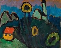 Gabriele Münter Landschaft mit Sonnenblumen.  1910 Oil on cardboard, laid on coreboard 32,8 x 40,7 cm (12.9 x 16 in) Estimate: € 250 000-350 000 .  Ketterer Kunst.