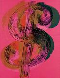 Andy Warhol, Dollar Sign.  Mixed Media/canvas, 90 x 70 inches.  © 2001 Andy Warhol Foundation for the Visual Arts / Artists Rights Society (ARS), New York © 2001 Andy Warhol Foundation / ARS, NY / TM Licensed by Campbell's Soup Co.  All rights reserved.