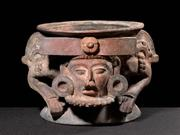 Maya Incensario with Overlord depiction 600-900 CE Polychrome ceramic H: 8 3/4 W: 10 in.  (Inv# 59699)