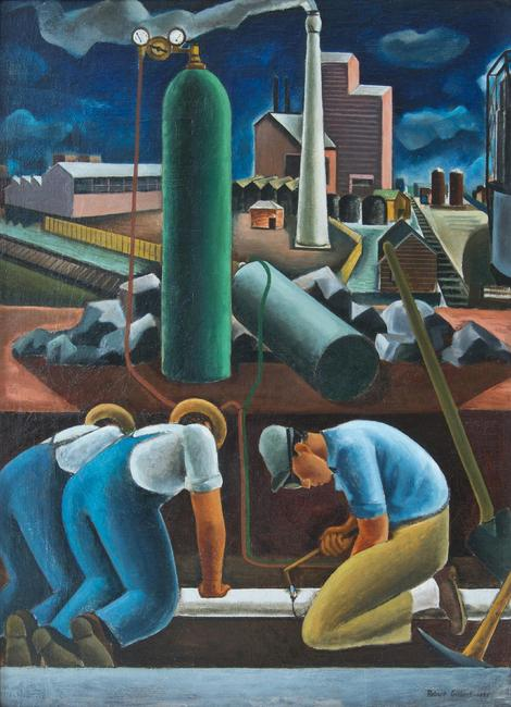 Robert Gilbert (1907 - 1988), Industrial Composition , 1932, oil on canvas, 47 x 34 inches , Shogren - Meyer Collection