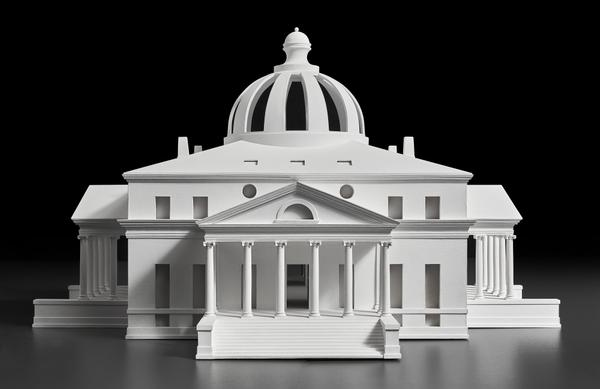 Designed by Simone Baldissini, Constructed by Ivan Simonato.  Model of Jefferson's design for the President's House competition (scale 1:66), 2015.  Wood, resin, and tempera.  Palladio Museum, Vicenza.