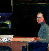 "Richard Diebenkorn, ""Woman and Checkerboard"", 1956.  Oil on canvas.  SBMA purchase, Pacific Coast Biennial Fund."