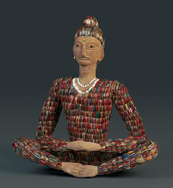 Nek Chand, untitled (seated sadhu), c.  1975-99; concrete, glass, ceramic shards, metal armatures; 28 3/4 x 27 1/4 x 10 3/4 in.  John Michael Kohler Arts Center Collection, gift of Kohler Foundation Inc.