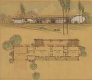 Floor Plan and Perspective, Cliff May San Diego Ranch House, 1950s