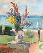 Henri Lebasque (French, 1865-1937) La terrasse devant la mer, Préfailles, c.  1922 signed 'Lebasque' (lower left) oil on canvas 24 x 19 11/16in (61 x 50cm) Estimate: $60,000 - 80,000