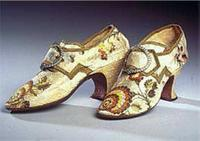 Shoes, by Jonathan Hose and Son. Circa 1770. London. Silk brocade. Gift of Miss Mary C. Wheelwright. 1919.140. Historic New England.