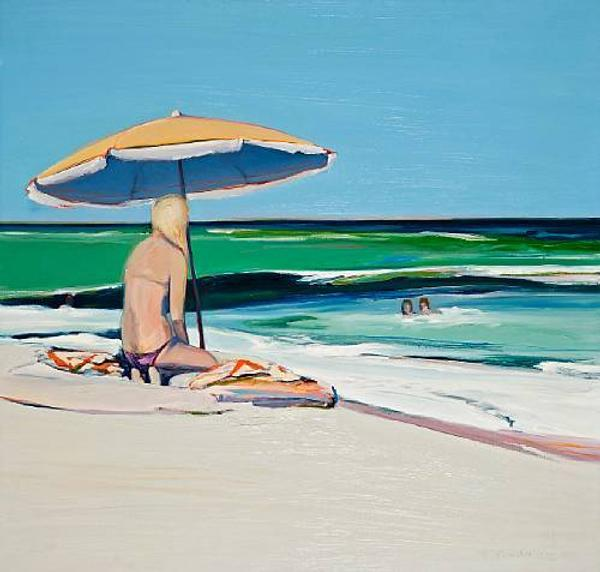 Gregory Kondos (American, born 1923) Beach Girl, 1975, sold for $51,850 inclusive of Buyer's Premium.