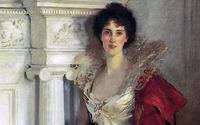 Detail of the portrait of Winifred, Duchess of Portland wearing the brooch, painted by John Singer Sargent (1856-1925) in 1902.