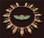 Egyptian Revival Necklace and Brooch, circa 1860. Castellani. Gold, steatite and faience scarab and micromosaic. (Sold at Sotheby's, 2006)