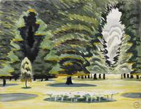 Charles Burchfield Sunlight in Park, 1917.  Watercolor, gouache, charcoal on paper, mounted to board.  17 x 22 inches.