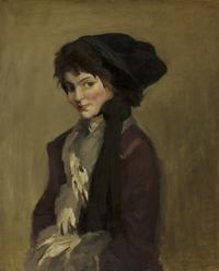 John Sloan (American, 1871-1951) Yolande in Gray Tippet, 1909.  Oil on canvas.  Bequest of R.H.  Norton, 53.179
