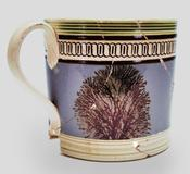 Mochaware mug, probably Staffordshire, England, c.  1800.  Excavated at the Constitution Center Site, Philadelphia.  INHP, no.  F.5