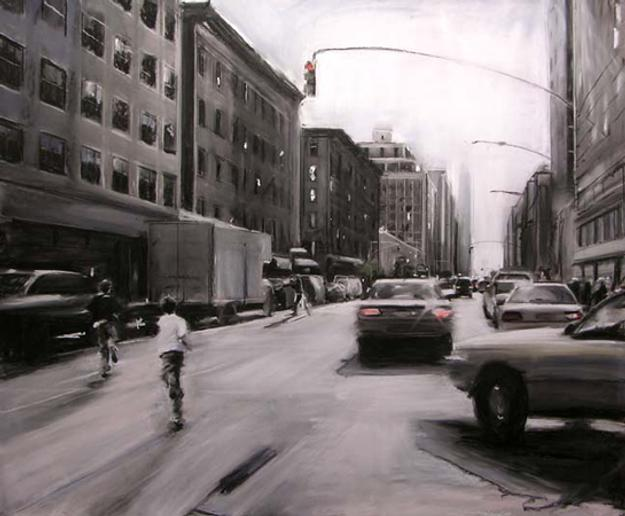 Susan Grossman, Run 2009, pastel & charcoal, 66 x 79 in.
