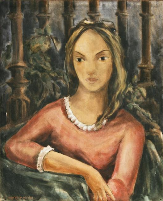 "Victor Manuel's ""Untitled"" portrait of a young lady ($20,000-25,000)."