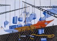 Jacob Lawrence, Decommissioning the Sea Cloud, 1944.  Watercolor on paper.  Santa Barbara Museum of Art, Gift of Mr.  and Mrs.  Burton Tremaine, Jr.