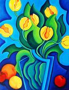 Angela Perko, Yellow Tulips in a Blue Vase, 2010, oil on canvas, 18 x 14 inches