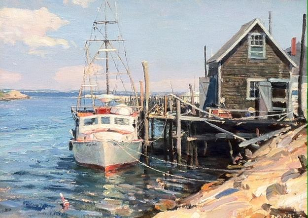 Menemsha Creek, Martha's Vineyard by John Stobart, Oil, 19x23 inches, Signed lower Right