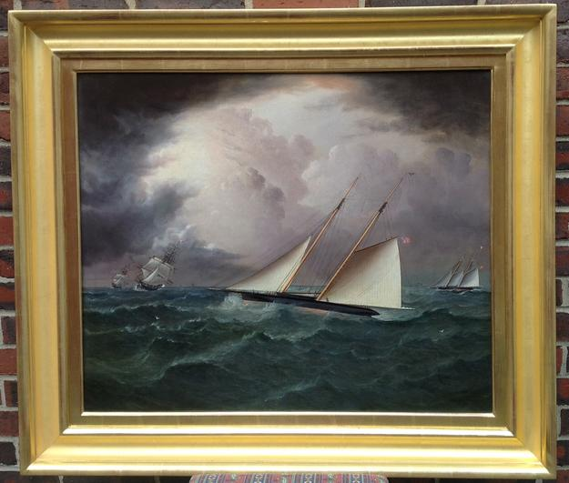 Yacht America by J.E.Buttersworth (1817-1894) Oil, 25x30 inches, 33x38 inches, signed lower right