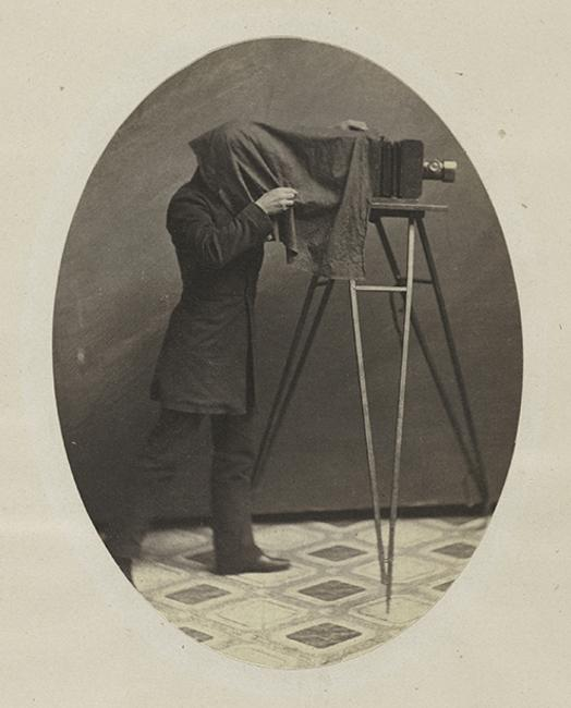 : Unknown American, active 1850s.  Studio Photographer at Work, ca.  1855.  Salted paper print from paper negative.  The Metropolitan Museum of Art, William L.  Schaeffer Collection, Promised Gift of Jennifer and Philip Maritz, in celebration of the Museum's 150th Anniversary