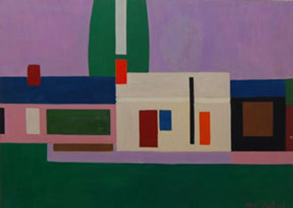 Charles DuBack United States, 1926 First House, 1957 oil on canvas 53 x 37 3/4 inches.  Courtesy of the artist.