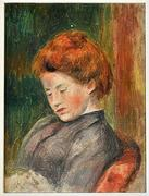Lot 33 Pierre-Auguste Renoir (1841-1919) Tête de Femme, Oil on canvas.