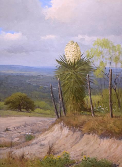 Porfirio Salinas, Yucca Vista, c.  1930s, oil on canvas, 36 x 24 inches.