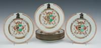 Ten Chinese export armorial plates, ca.  1720, brought $16,157.50.
