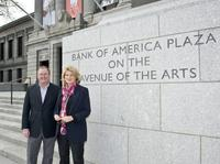 Museum of Fine Arts Director Malcolm Rogers, and Anne Finucane, Global Strategy & Marketing, Bank of America, dedicating the Bank of America Plaza on the Avenue of the Arts in Boston.