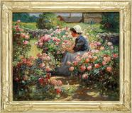 Of the nearly 700 paintings and bronzes, the centerpiece was an outstanding work by Abbott Fuller Graves.  Depicting a young woman seated in a rural Maine flower garden setting, the fine oil on canvas brought $109,250 within expectations of $100,000-150,000.