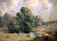 "George M.  Bruestle (1871 - 1939) The Stony Brook, signed lower right, oil on board, 12"" x 16"", $7,500"