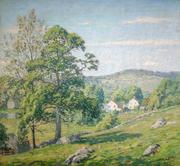 "Wilson H.  Irvine (1869 - 1936) A Day in May, Lyme signed, Irvine, lower right inscribed ""With my compliments, Christmas 1915, Paul Schulze"", verso oil on canvas, 24 1/4"" x 27"""