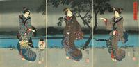 Utagawa Hiroshige's (1797–1858) Cherry Blossoms on the Sumida Embankment in Dark Night from Sebastian Izzard Asian Art.