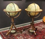 "John Orban Antiques and Fine Art sold a very rare and important pair of George III terrestrial and celestial globes by John and William Cary of London circa 1839 and 1818, each measuring 15"" in diameter, with an asking price of $85,000."