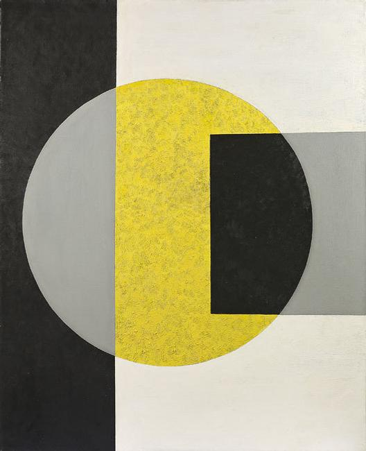 "Charles Shaw, ""Black into Yellow,"" 1970, oil on canvas, 50 x 40 inches"