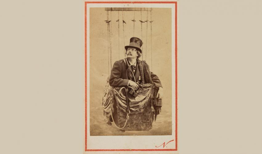 "Nadar, ""Self Portrait, Posed in a Balloon Basket,"" 1862.  Albumen print carte-de-visite.  SBMA, Museum purchase, 19th century Art Acquisition Fund."