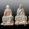 Set of Three Chinese Polychrome Stucco Lohans, Song/Yuan Dynasty Height of each: 24 inches(61cm)