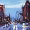 """Winter Morning on Newbury Street"", 2014.  Oil on panel, 40 x 30 inches."
