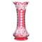 Cranberry cut to clear vase in the Iris pattern by Clark, 18 inches tall, boasting fantastic color and a large hobstar base.