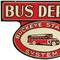 This rare Buckeye Stages System deep shelved porcelain bus depot sign, 30 inches by 20 inches, with great color and graphics, left the station for $52,200.