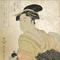 "1.  Utamaro.  Courtesan Wakaume from the Tamaya.  Woodblock print with mica ground.  c.1793-1794.  14.25"" x 9.25."" Ronin Gallery."