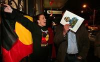 Protestors decry the sale of Aboriginal ancestor busts at Sotheby's