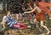 John Spencer Stanhope, Love and the Maiden, 1877, tempera, gold paint and gold leaf on canvas.  FAMSF